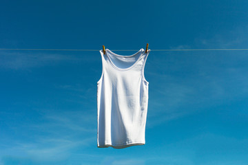 Shirt on clothesline.