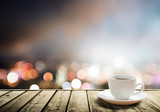 coffee on table in the night city