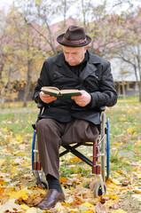 Handicapped elderly man in a wheelchair