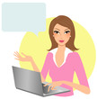 Woman working on computer with speech bubble