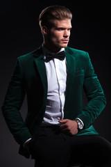 seated elegant man in green velvet suit