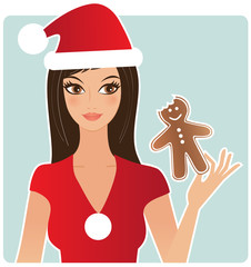 Woman eating gingerbread man