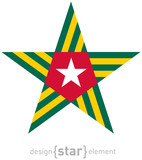 star with Togo flag colors and symbols design element