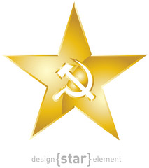 golden star with socialistic symbols