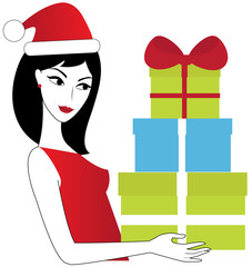 Woman with xmas presents