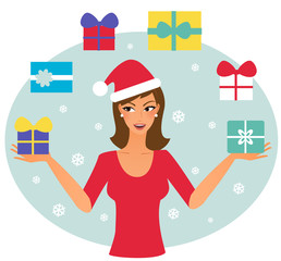 Xmas woman juggling with presents