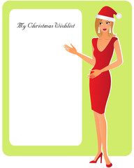 Young xmas woman with copy space