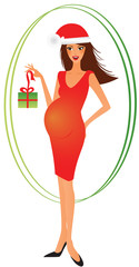 Young xmas pregnant woman with present