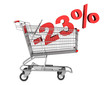 shopping cart with 23 percent discount isolated on white backgro