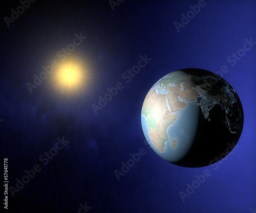 Mondo terra sole globo India Asia Africa Europa luci città