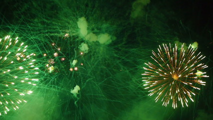 HD - Fireworks. Green balls