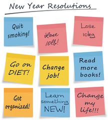 New year resolutions or self improvement sticky notes isolated