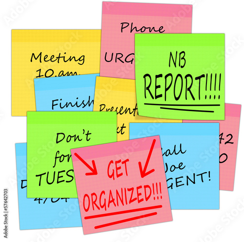 Get organized - business stress notes, white background