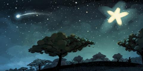 fondo de noche de estrellas