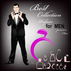 Perfume for Men premium class.Abstract graphic illustration.