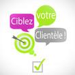 bulles vert fuchsia :  ciblez votre clientèle (français)