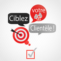 bulles rouge gris : ciblez votre clientèle (français)