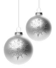 Silberne Weihnachtskugeln mit Muster
