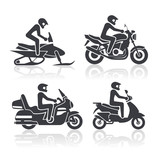 Set of icons - motorcycle lifestyle