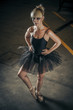 Temptation,  blonde ballerina with black tutu