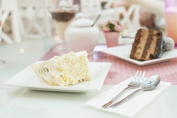 White Cake and a milkshake in confectionery
