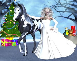 Beautiful girl with a horse in the fairy forest