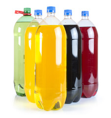 Carbonated drinks in plastic bottles