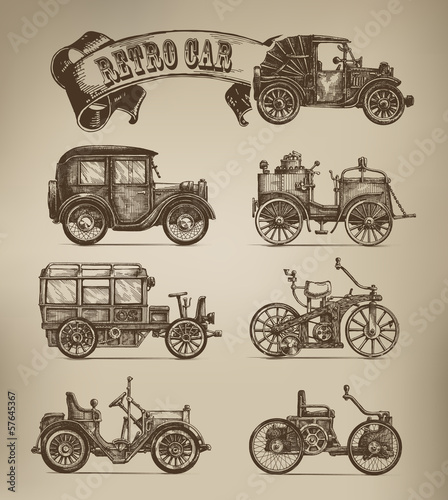 Retro cars vectors