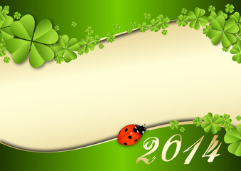 2014 vector template with clover and a lady beetle