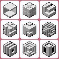 cube icons set 6