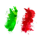 Colored splashes in abstract shape, Italian flag