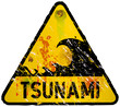 tsunami warning sign, heavy weathered, vector eps 10