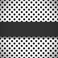 Banner on black and white polka dot pattern