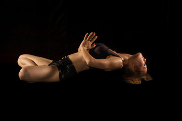 yoga female doing yogatic exericise