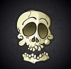 Skull Cartoon Character on a Black Splatter Background