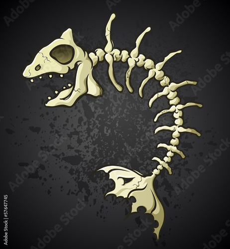 Fish Bones Skeleton Cartoon Character