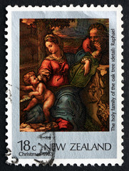 Postage stamp New Zealand 1983 Holy Family, Painting by Raphael