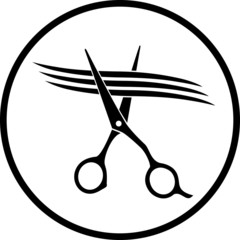 scissors cutting strand of hair