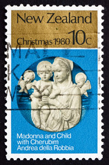 Postage stamp New Zealand 1980 Madona and Child with Cherubim