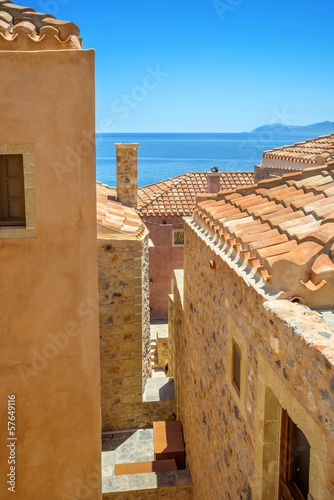 greece monemvasia traditional view of stone houses and sights in