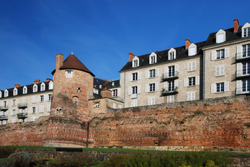 Ancient fortified wall in the French city Le Mans
