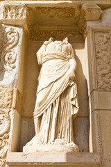 Sculpture in Library of Celsus, Ephesus, Turkey