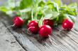 red radish with leaves on wooden table - ravanelli