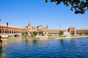 Plaza de España at summer day, Seville, Spain