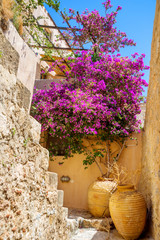 greece monemvasia traditional view of stone houses with colorful