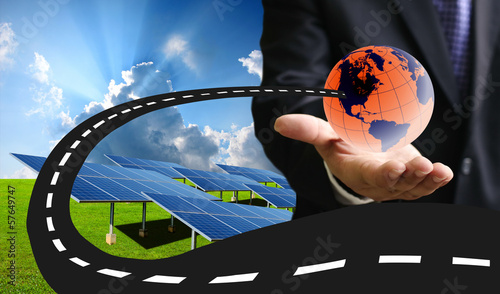 New road for sustainable energy concept, Solar energy