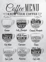 SeSet of coffee menu drawing chalk. Vintage.