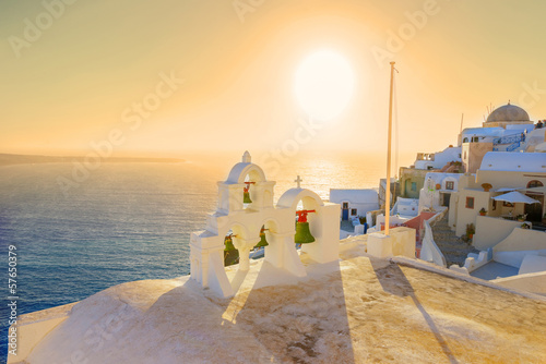 Staande foto Athene Greece Santorini island Oia sunset, view above caldera with sea