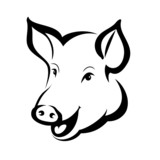 Fototapety happy pig head portrait, isolated vector symbol