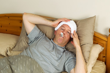 Sick Mature Man with Fever